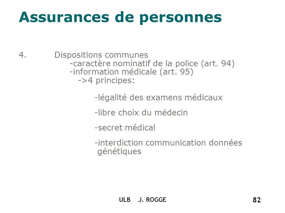 Assurances de personnes 4.Dispositions communes -caractère nominatif de la police (art. 94) -information médicale (art. 95) ->4 principes: -légalité d