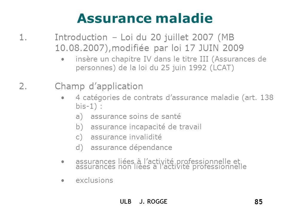 ULB J. ROGGE 85 Assurance maladie 1.Introduction – Loi du 20 juillet 2007 (MB 10.08.2007),modifiée par loi 17 JUIN 2009 insère un chapitre IV dans le