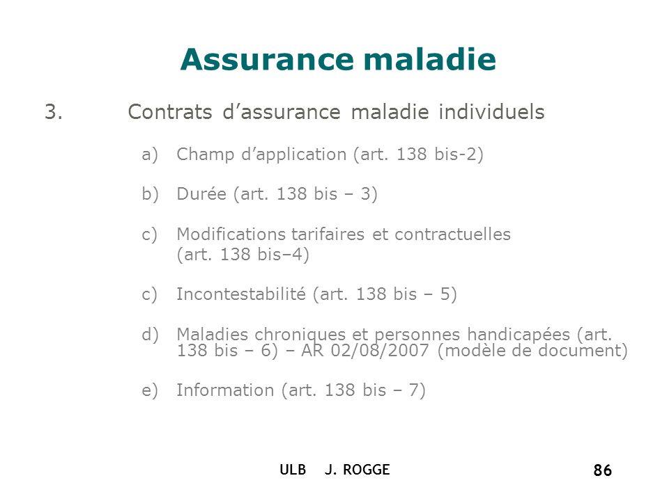 ULB J. ROGGE 86 Assurance maladie 3.Contrats dassurance maladie individuels a)Champ dapplication (art. 138 bis-2) b)Durée (art. 138 bis – 3) c)Modific