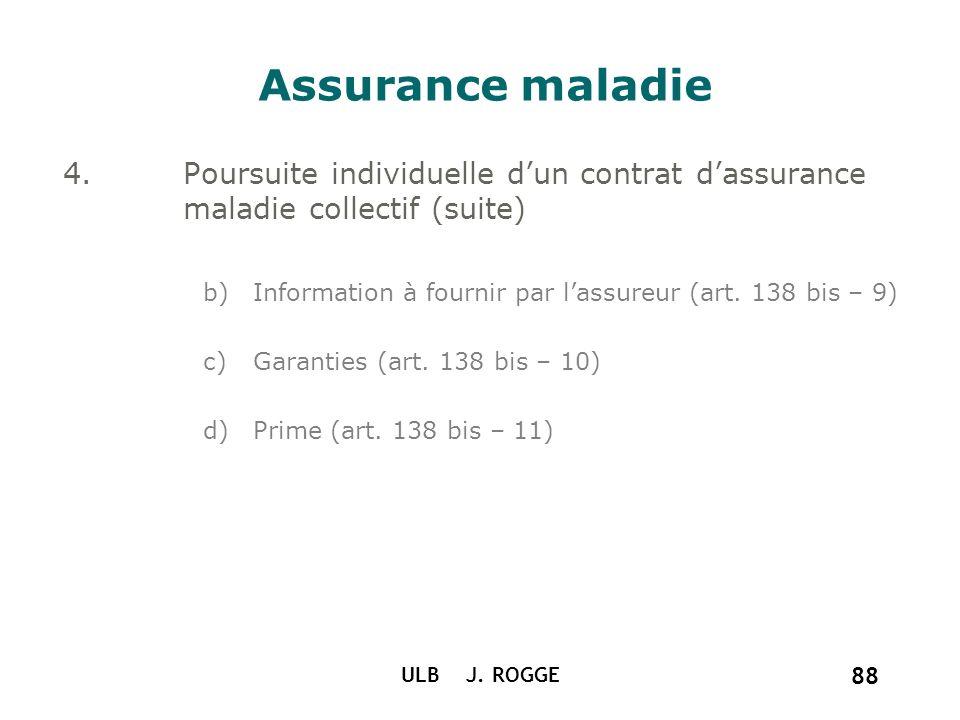 ULB J. ROGGE 88 Assurance maladie 4.Poursuite individuelle dun contrat dassurance maladie collectif (suite) b)Information à fournir par lassureur (art