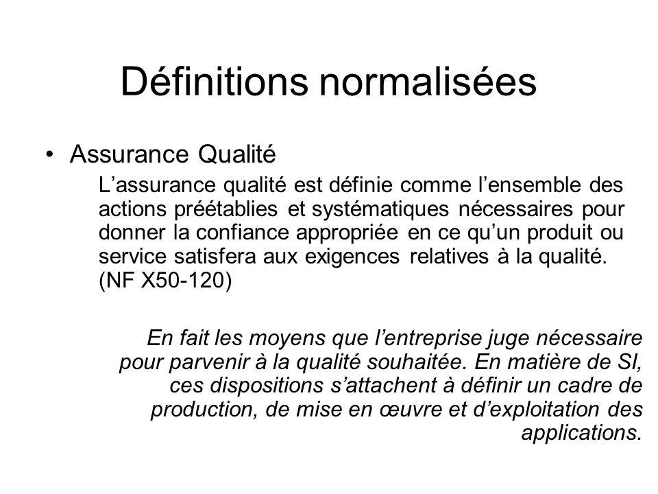 Définitions normalisées Assurance Qualité Lassurance qualité est définie comme lensemble des actions préétablies et systématiques nécessaires pour don