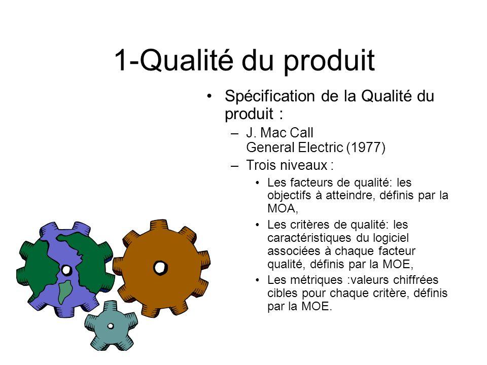 1-Qualité du produit Spécification de la Qualité du produit : –J. Mac Call General Electric (1977) –Trois niveaux : Les facteurs de qualité: les objec
