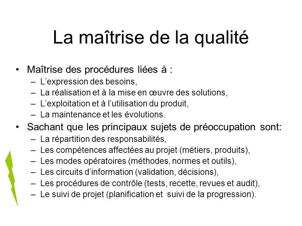 La maîtrise de la qualité Maîtrise des procédures liées à : –Lexpression des besoins, –La réalisation et à la mise en œuvre des solutions, –Lexploitat