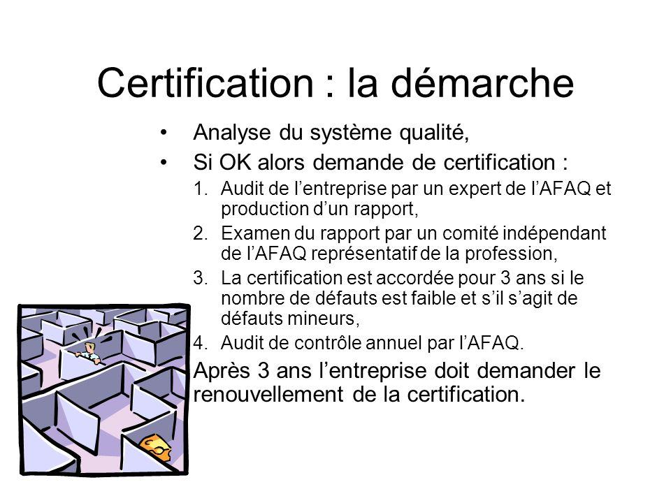 Certification : la démarche Analyse du système qualité, Si OK alors demande de certification : 1.Audit de lentreprise par un expert de lAFAQ et produc