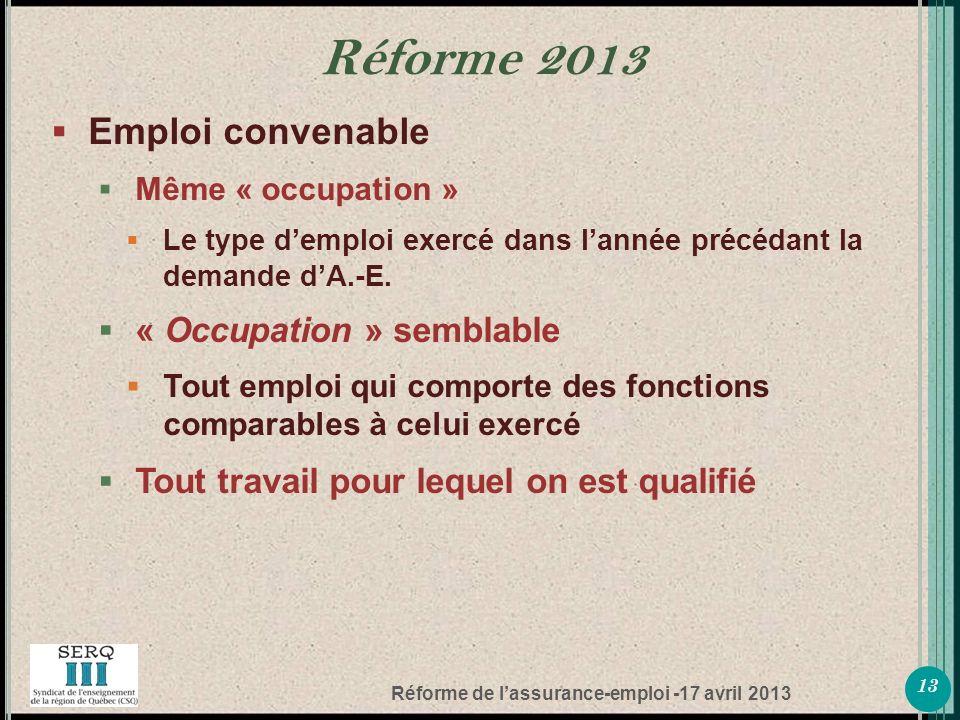 Réforme de lassurance-emploi -17 avril 2013 Emploi convenable Même « occupation » Le type demploi exercé dans lannée précédant la demande dA.-E.