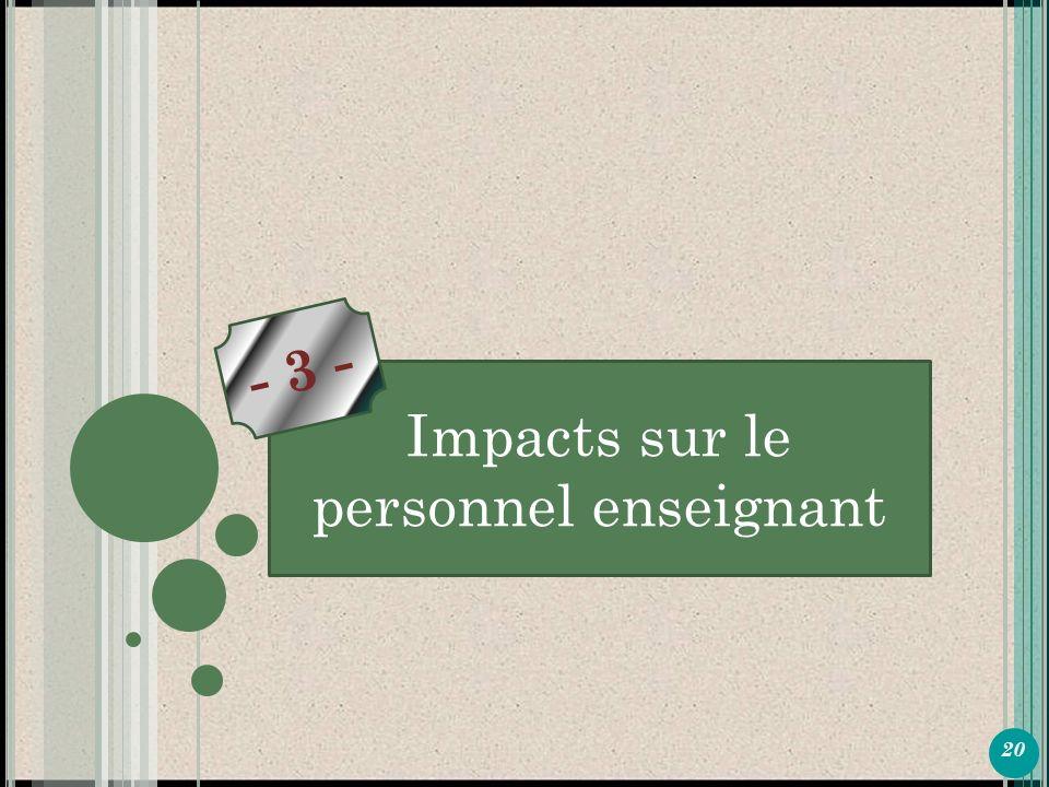 20 P ARTIE 1 Impacts sur le personnel enseignant - 3 -