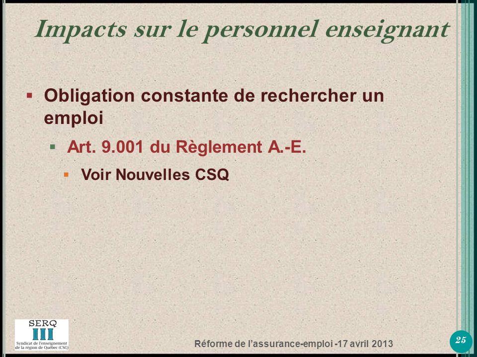 Réforme de lassurance-emploi -17 avril 2013 Obligation constante de rechercher un emploi Art.