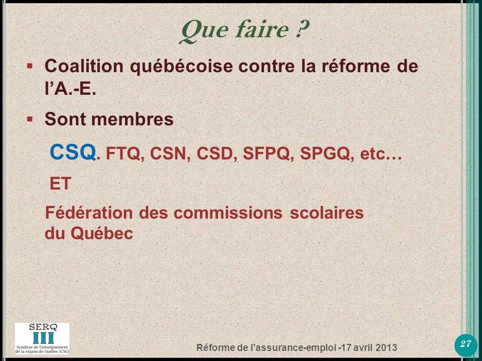 Réforme de lassurance-emploi -17 avril 2013 Coalition québécoise contre la réforme de lA.-E.