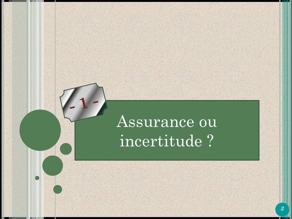 3 P ARTIE 1 Assurance ou incertitude - 1 -