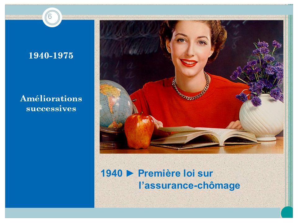 1940-1975 Améliorations successives 1940 Première loi sur lassurance-chômage 6