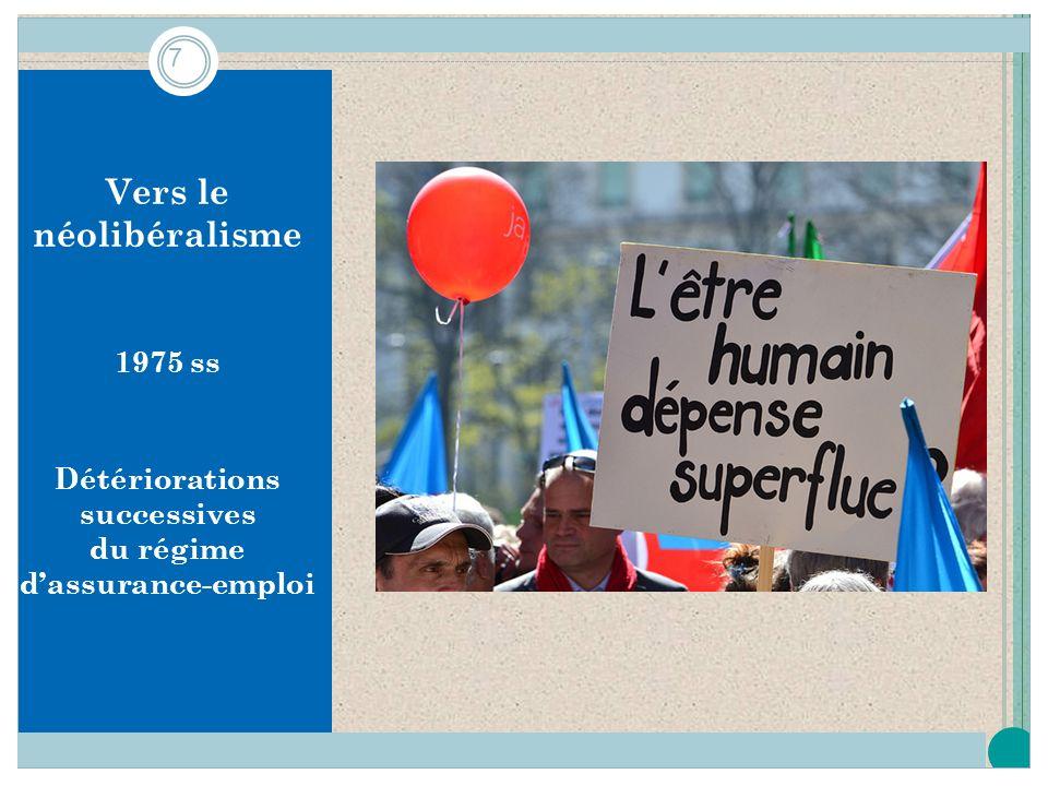 Vers le néolibéralisme 1975 ss Détériorations successives du régime dassurance-emploi 7