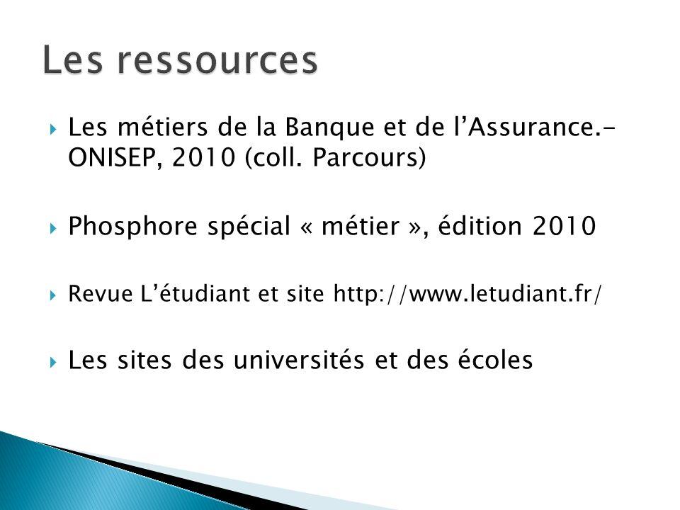 Les métiers de la Banque et de lAssurance.- ONISEP, 2010 (coll.