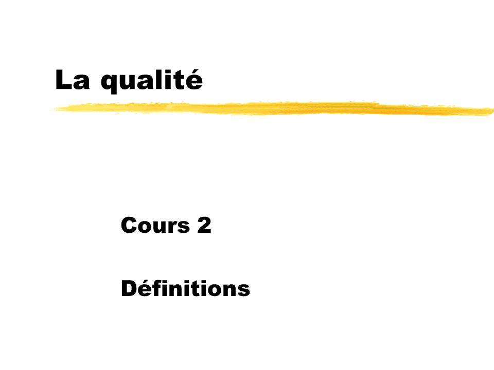 La qualité Cours 2 Définitions