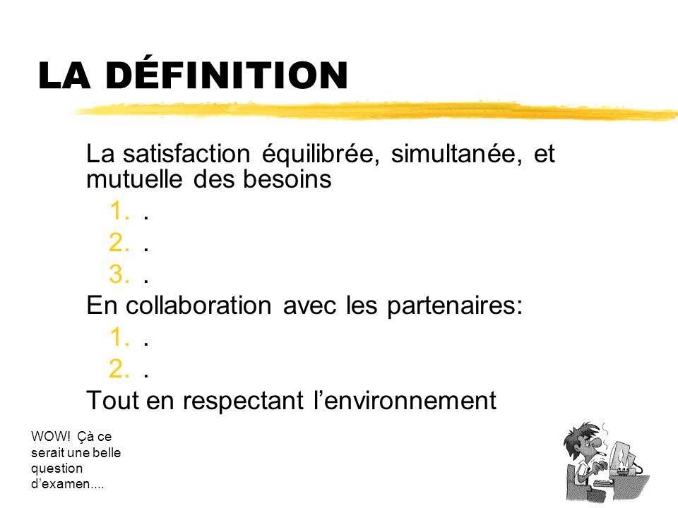 LA DÉFINITION La satisfaction équilibrée, simultanée, et mutuelle des besoins 1.. 2.. 3.. En collaboration avec les partenaires: 1.. 2.. Tout en respe
