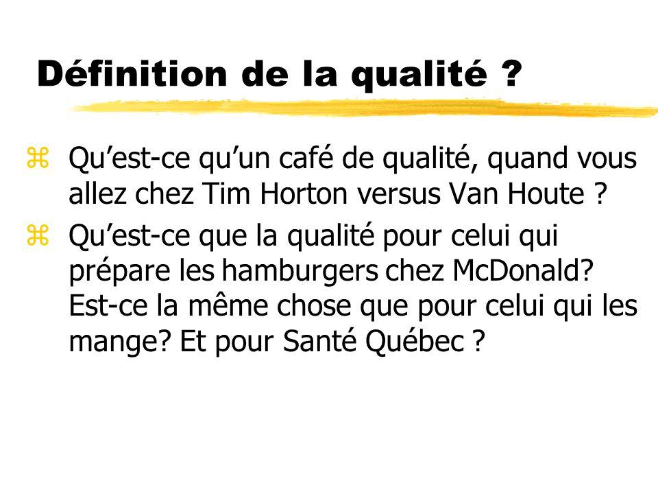 Définition de la qualité ? zQuest-ce quun café de qualité, quand vous allez chez Tim Horton versus Van Houte ? zQuest-ce que la qualité pour celui qui