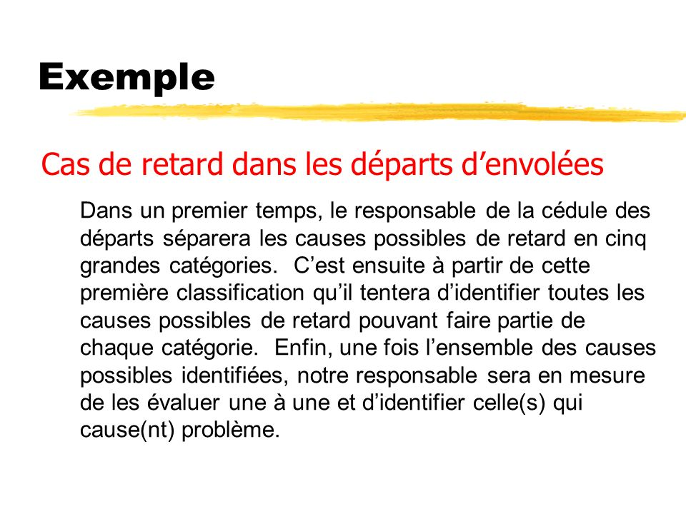 Exemple Cas de retard dans les départs denvolées Dans un premier temps, le responsable de la cédule des départs séparera les causes possibles de retard en cinq grandes catégories.