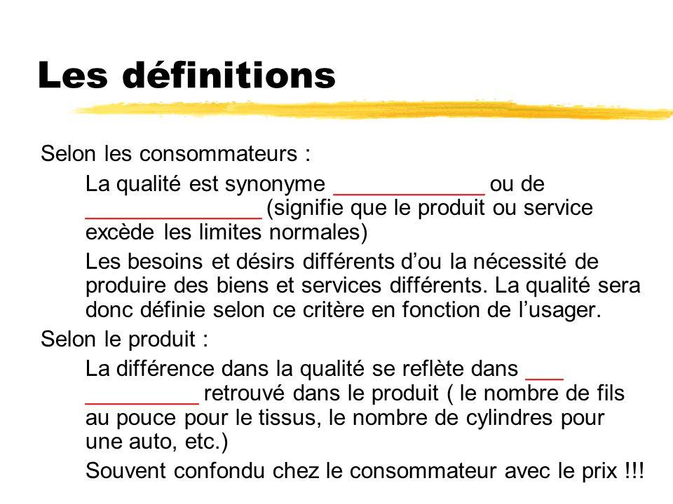 Les définitions Selon les consommateurs : La qualité est synonyme ____________ ou de ______________ (signifie que le produit ou service excède les limites normales) Les besoins et désirs différents dou la nécessité de produire des biens et services différents.