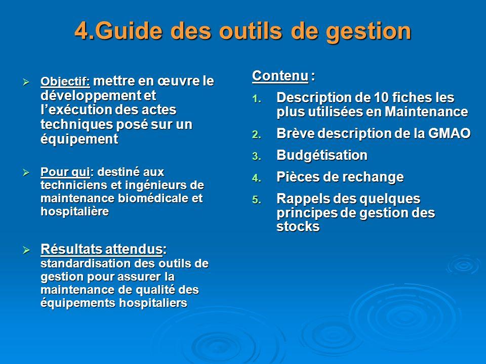 4.Guide des outils de gestion Objectif: mettre en œuvre le développement et lexécution des actes techniques posé sur un équipement Objectif: mettre en