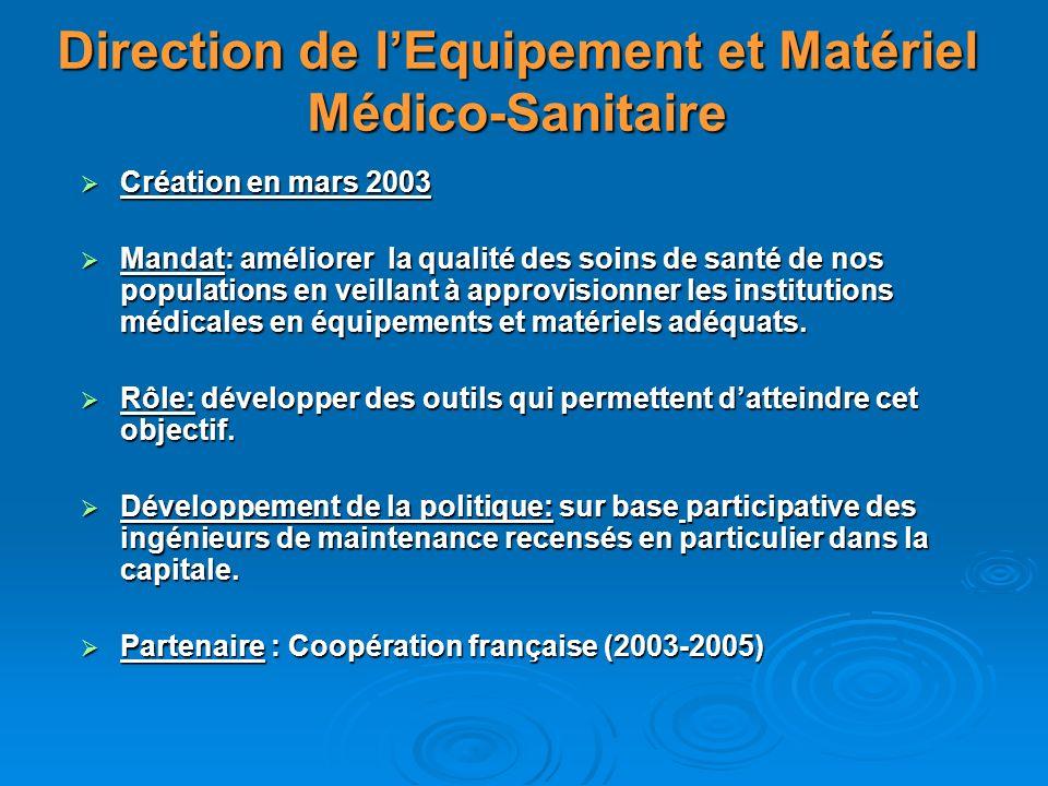 Direction de lEquipement et Matériel Médico-Sanitaire Création en mars 2003 Création en mars 2003 Mandat: améliorer la qualité des soins de santé de n