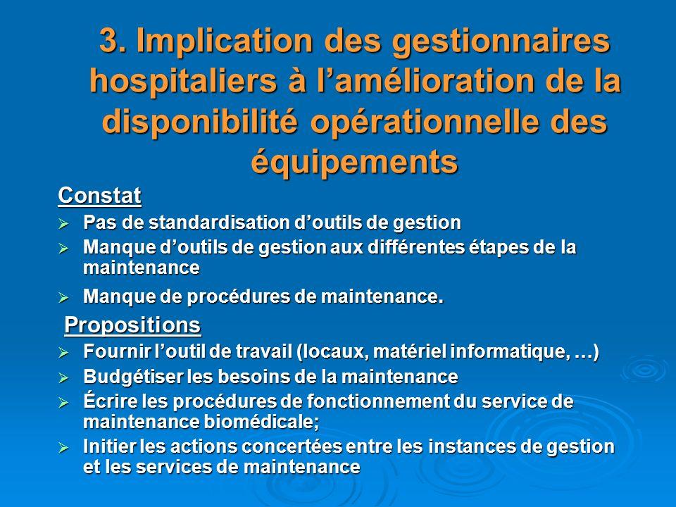 3. Implication des gestionnaires hospitaliers à lamélioration de la disponibilité opérationnelle des équipements Constat Pas de standardisation doutil
