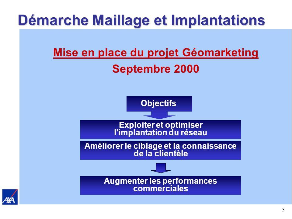 3 Démarche Maillage et Implantations Mise en place du projet Géomarketing Septembre 2000 Objectifs Améliorer le ciblage et la connaissance de la clientèle Exploiter et optimiser l implantation du réseau Augmenter les performances commerciales