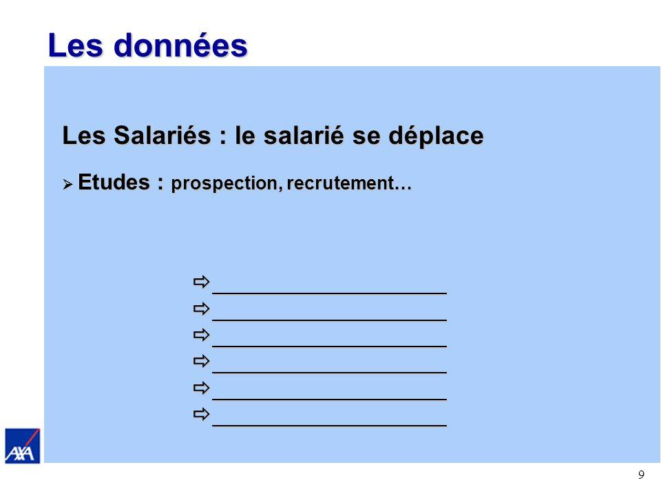 9 Les données Les Salariés : le salarié se déplace Etudes : prospection, recrutement… Etudes : prospection, recrutement… ___________________ ___________________