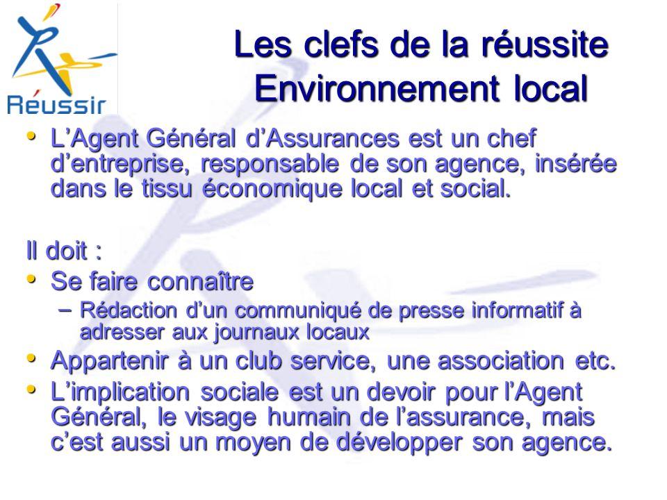 Les clefs de la réussite Environnement local LAgent Général dAssurances est un chef dentreprise, responsable de son agence, insérée dans le tissu économique local et social.