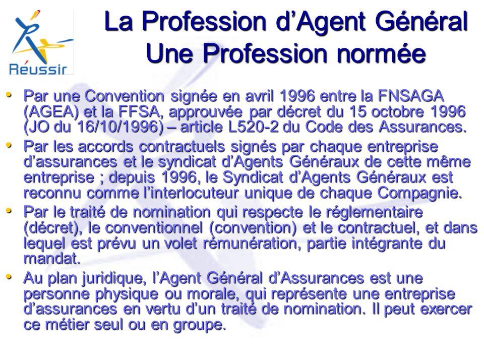 La Profession dAgent Général Une Profession normée Par une Convention signée en avril 1996 entre la FNSAGA (AGEA) et la FFSA, approuvée par décret du 15 octobre 1996 (JO du 16/10/1996) – article L520-2 du Code des Assurances.