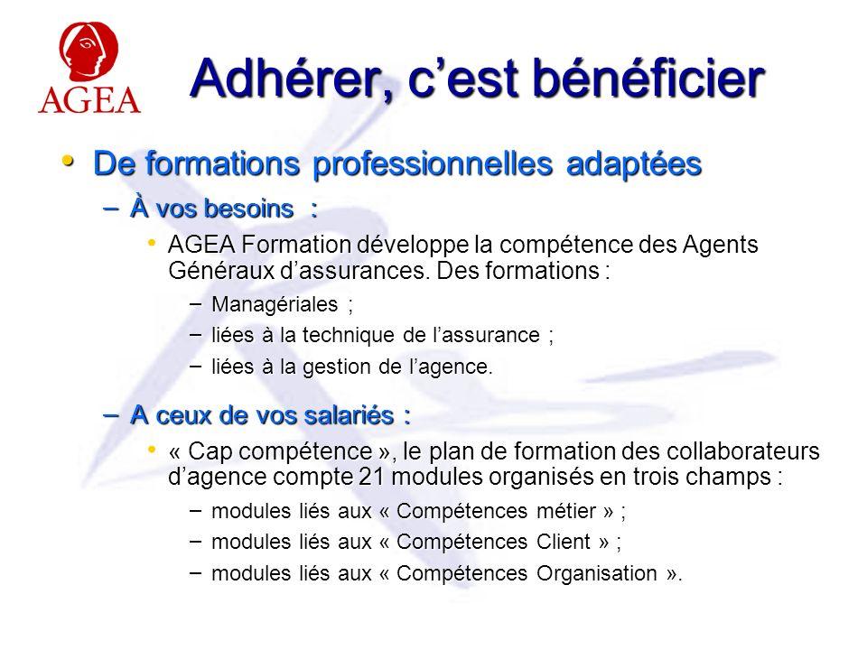 Adhérer, cest bénéficier De formations professionnelles adaptées De formations professionnelles adaptées – À vos besoins : AGEA Formation développe la compétence des Agents Généraux dassurances.