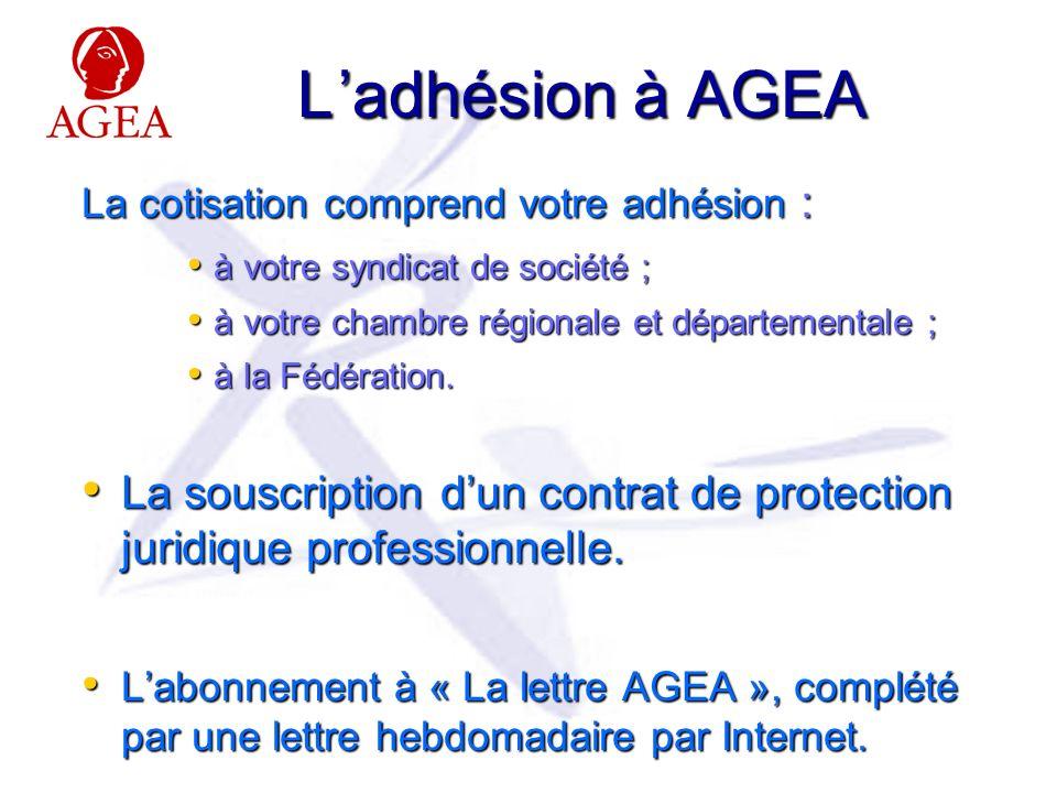 L adhésion à AGEA La cotisation comprend votre adhésion : à votre syndicat de société ; à votre syndicat de société ; à votre chambre régionale et départementale ; à votre chambre régionale et départementale ; à la Fédération.