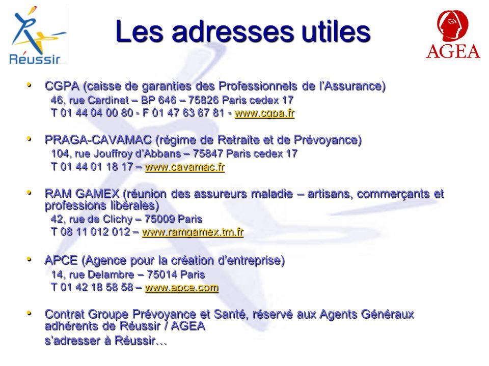 Les adresses utiles CGPA (caisse de garanties des Professionnels de lAssurance) CGPA (caisse de garanties des Professionnels de lAssurance) 46, rue Cardinet – BP 646 – 75826 Paris cedex 17 T 01 44 04 00 80 - F 01 47 63 67 81 - www.cgpa.fr www.cgpa.fr PRAGA-CAVAMAC (régime de Retraite et de Prévoyance) PRAGA-CAVAMAC (régime de Retraite et de Prévoyance) 104, rue Jouffroy dAbbans – 75847 Paris cedex 17 T 01 44 01 18 17 – www.cavamac.fr www.cavamac.fr RAM GAMEX (réunion des assureurs maladie – artisans, commerçants et professions libérales) RAM GAMEX (réunion des assureurs maladie – artisans, commerçants et professions libérales) 42, rue de Clichy – 75009 Paris T 08 11 012 012 – www.ramgamex.tm.fr www.ramgamex.tm.fr APCE (Agence pour la création dentreprise) APCE (Agence pour la création dentreprise) 14, rue Delambre – 75014 Paris T 01 42 18 58 58 – www.apce.com www.apce.com Contrat Groupe Prévoyance et Santé, réservé aux Agents Généraux adhérents de Réussir / AGEA Contrat Groupe Prévoyance et Santé, réservé aux Agents Généraux adhérents de Réussir / AGEA sadresser à Réussir…