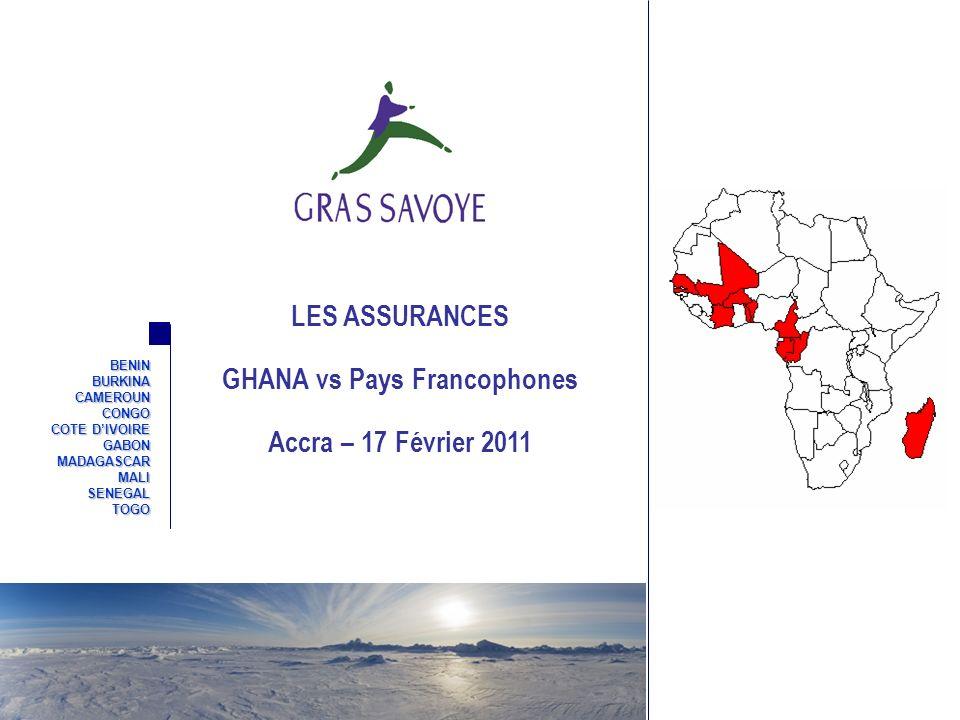 2 Sommaire Présentation de Gras Savoye Généralités sur le marché des Assurances au Ghana Les Assurances Obligatoires Principales différences avec les pays francophones Questions/Réponses