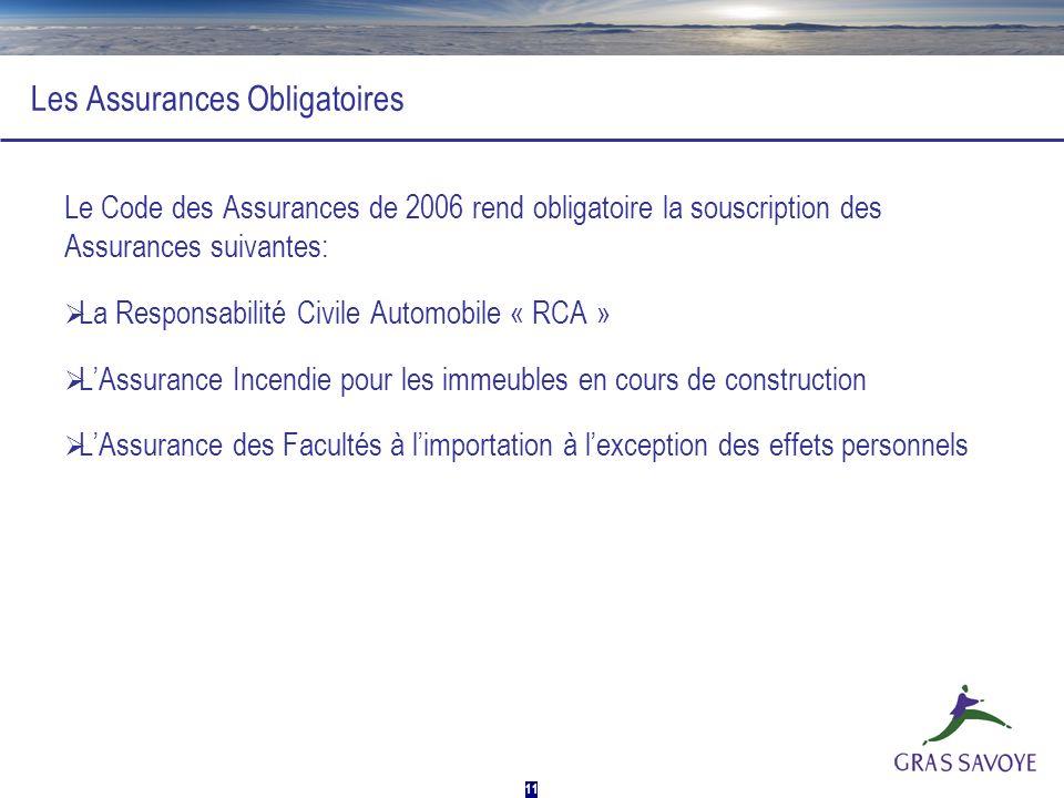 11 Les Assurances Obligatoires Le Code des Assurances de 2006 rend obligatoire la souscription des Assurances suivantes: La Responsabilité Civile Auto