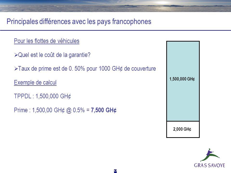 17 Principales différences avec les pays francophones Pour les flottes de véhicules Quel est le coût de la garantie? Taux de prime est de 0. 50% pour