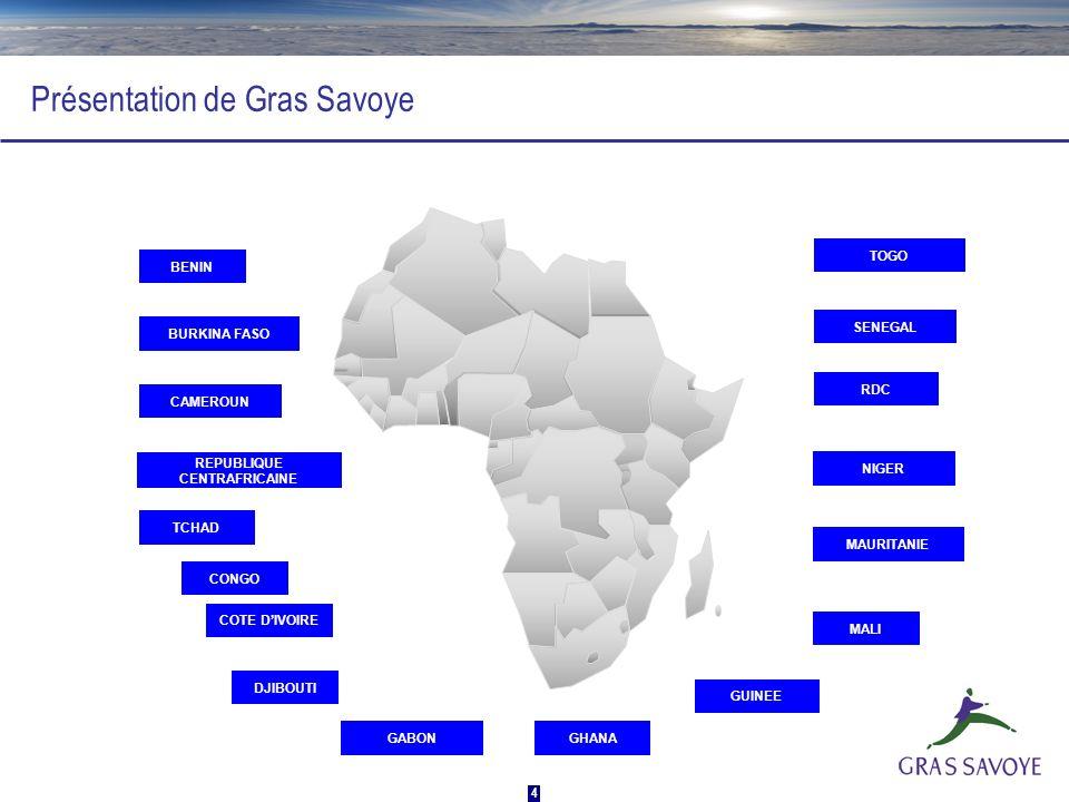 4 Présentation de Gras Savoye BENIN TOGO SENEGAL BURKINA FASO CAMEROUN TCHAD CONGO GHANA COTE DIVOIRE GABON GUINEE MALI MAURITANIE NIGER RDC DJIBOUTI