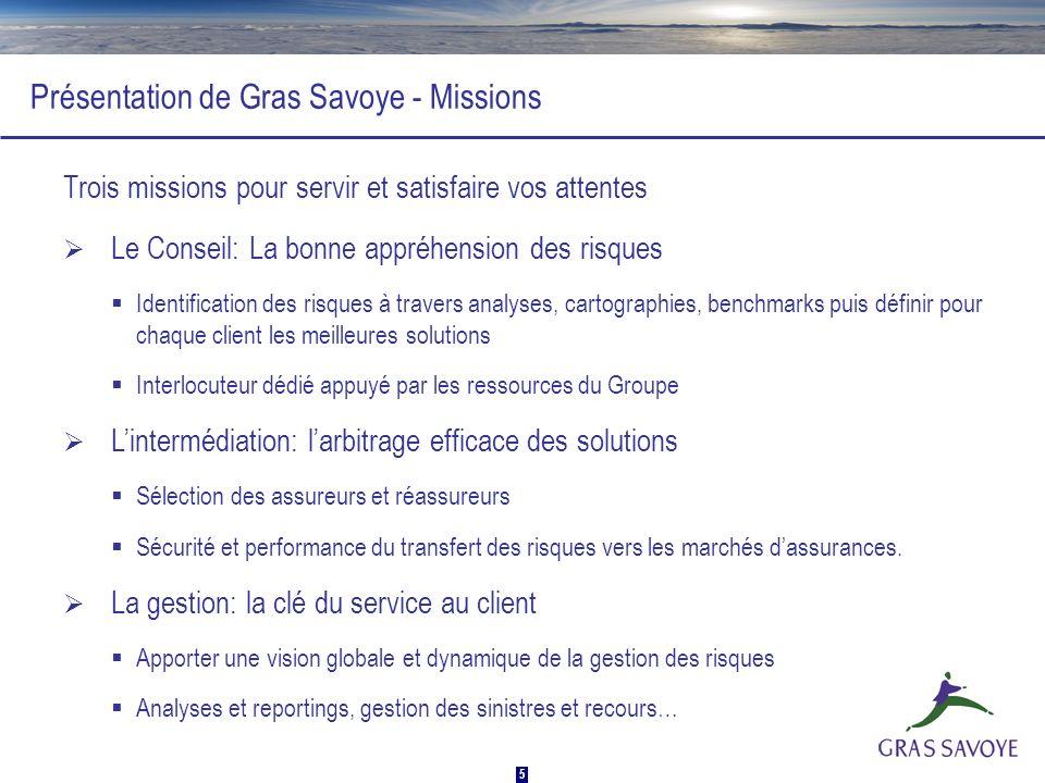 5 Présentation de Gras Savoye - Missions Trois missions pour servir et satisfaire vos attentes Le Conseil: La bonne appréhension des risques Identific