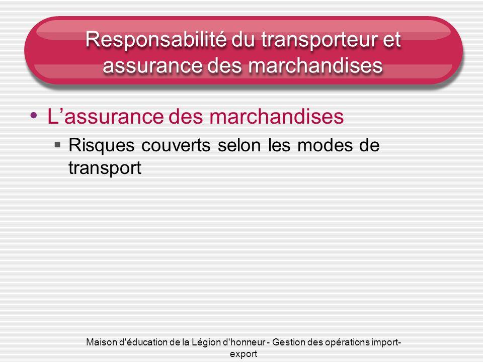 Maison d éducation de la Légion d honneur - Gestion des opérations import- export Responsabilité du transporteur et assurance des marchandises Lassurance des marchandises Risques couverts selon les modes de transport