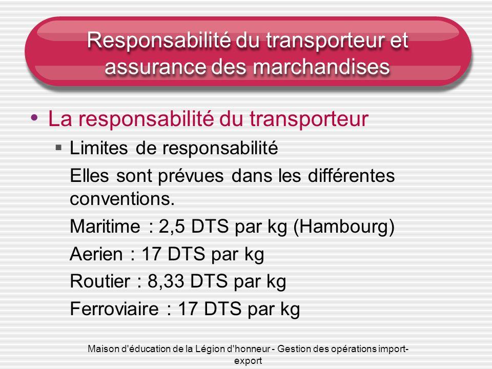 Maison d éducation de la Légion d honneur - Gestion des opérations import- export Responsabilité du transporteur et assurance des marchandises La responsabilité du transporteur Limites de responsabilité Elles sont prévues dans les différentes conventions.