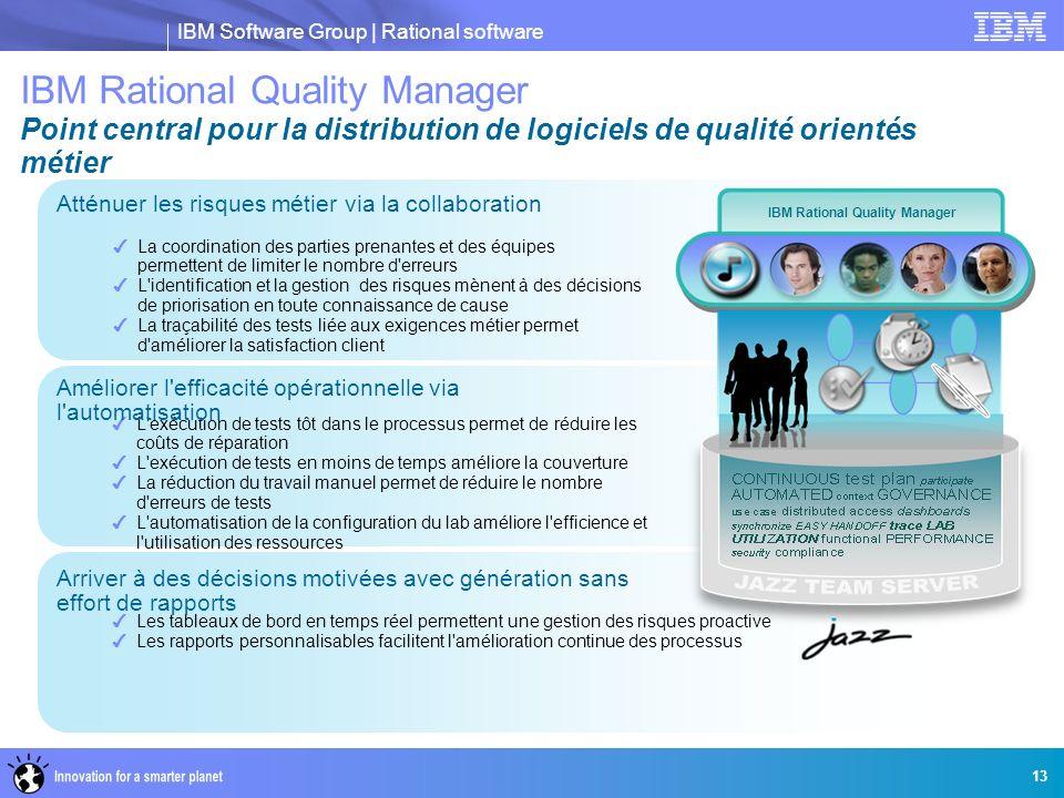 IBM Software Group | Rational software 13 La coordination des parties prenantes et des équipes permettent de limiter le nombre d'erreurs L'identificat