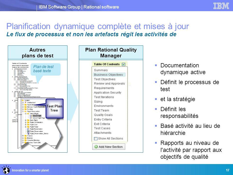 IBM Software Group | Rational software Planification dynamique complète et mises à jour Le flux de processus et non les artefacts régit les activités