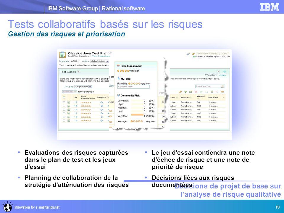 IBM Software Group | Rational software Décisions de projet de base sur l'analyse de risque qualitative 19 Tests collaboratifs basés sur les risques Ge
