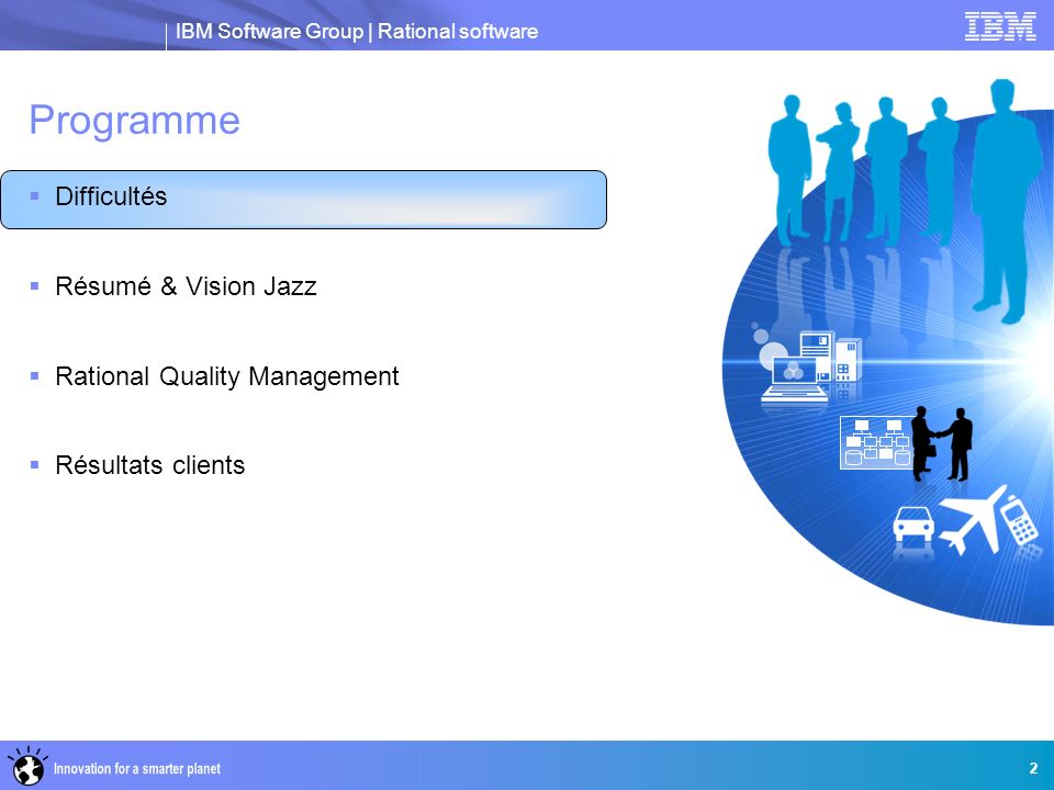 IBM Software Group | Rational software 2 Programme Difficultés Résumé & Vision Jazz Rational Quality Management Résultats clients