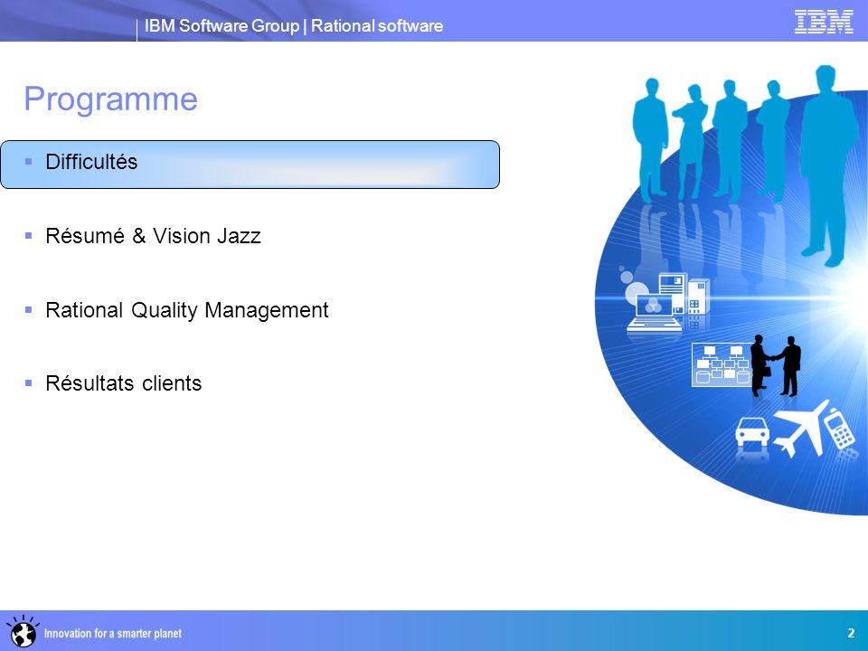 IBM Software Group   Rational software Ecosystème ouvert de Rational Quality Manager Quality Manager Gérer les tests d applications mobiles dans un environnement de tests manuels global Prendre en charge l intégration bidirectionnelle avec le système de gestion des changements Jira Obtenir une amélioration de la qualité et de la productivité grâce à une gouvernance SOA automatisée Accélérer les cycles de test grâce à la gestion et l exécution de machines virtuelles Exigences Rational Requirements Composer Rational ReqPro Rational DOORS Générations, éléments de travail et incidents Rational ClearQuest Rational Team Concert Rational BuildForge Quick Test Professional LoadRunner Dimensionnement Tivoli Provisioning Manager (TPM) Tivoli Service Request Manager TADDM Génération de rapports Rational Insight RapidRep Certifier TMAP Process 33 Tests automatisés Rational Functional Tester Rational Performance Tester Rational Service Tester for SOA Quality Rational AppScan Tester Edition Test RealTime Rational Robot Rational Rhapsody