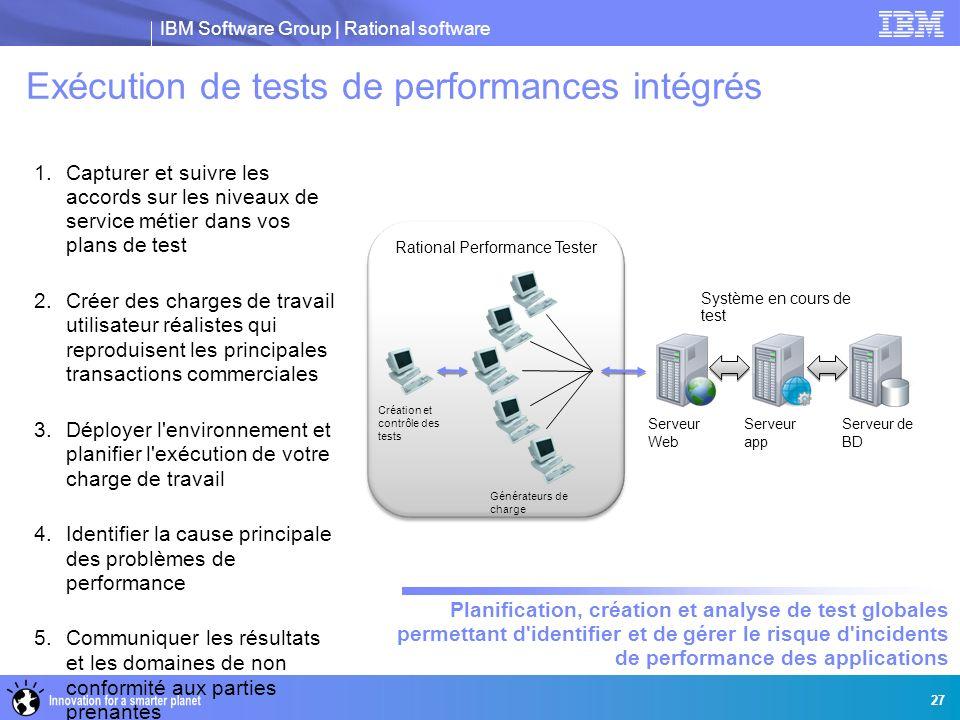 IBM Software Group | Rational software 1.Capturer et suivre les accords sur les niveaux de service métier dans vos plans de test 2.Créer des charges d