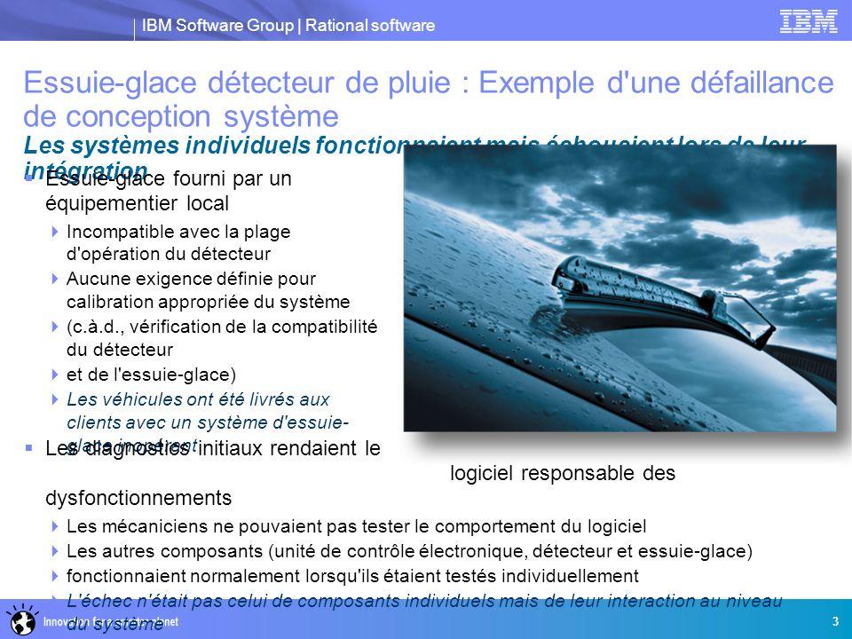 IBM Software Group | Rational software Essuie-glace détecteur de pluie : Exemple d'une défaillance de conception système Les systèmes individuels fonc