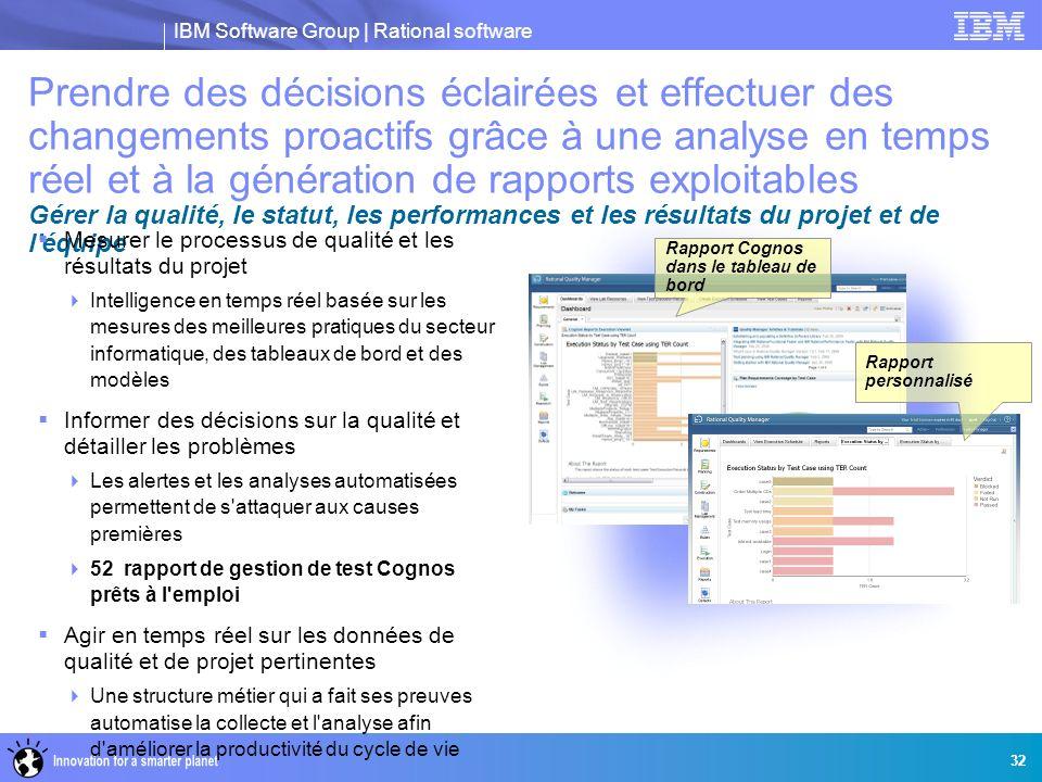 IBM Software Group | Rational software 32 Rapport personnalisé Rapport Cognos dans le tableau de bord Prendre des décisions éclairées et effectuer des
