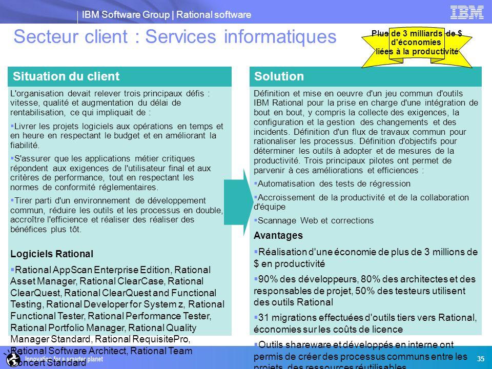 IBM Software Group | Rational software 35 Secteur client : Services informatiques SolutionSituation du client Définition et mise en oeuvre d'un jeu co