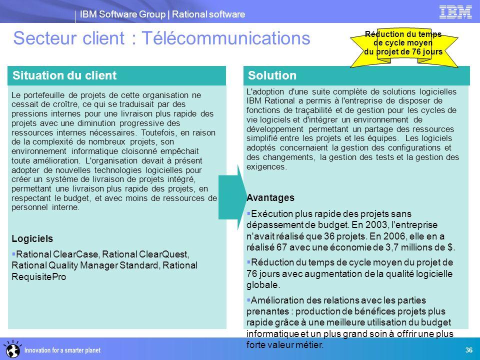 IBM Software Group | Rational software 36 Secteur client : Télécommunications SolutionSituation du client Le portefeuille de projets de cette organisa