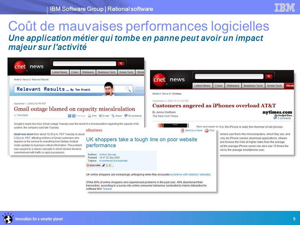 IBM Software Group | Rational software 5 Coût de mauvaises performances logicielles Une application métier qui tombe en panne peut avoir un impact maj