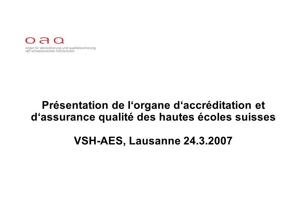 Présentation de lorgane daccréditation et dassurance qualité des hautes écoles suisses VSH-AES, Lausanne 24.3.2007